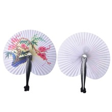 Dancing Wedding Party Decor Fan Chinese Japanese Flower Blossoms Folding Carved Hand Fan 2pcs for Gift(China)