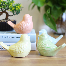 Handmade colorful bird sculpture Cute little bird ceramic crafts desktop furnishing Office Ornaments Home Decoration Accessories(China)