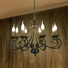 Vintage cheap pendant lamp 8pcs E14 E12 black candles hanging suspension lighting lustres industrial lighting retro stair lamp(China)