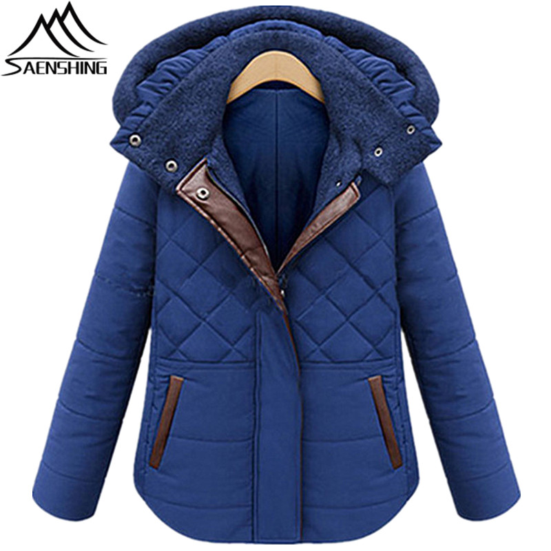 Saenshing Winter Jacket Women Parkas Solid Pattern Thicken Coat Ladies Short Length Full Sleeve Parkas Hooded Slim Casual JacketÎäåæäà è àêñåññóàðû<br><br>