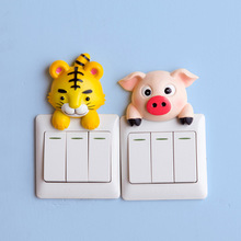 Funny Cute Cartoon resin Switch Stickers Wall Stickers Cattle pig tiger Animal shape socket protective cover for home decoration