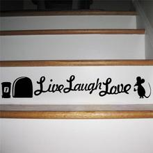 live laugh love mouse quotes mice hole wall stickers rest room decorations 375. diy vinyl home decal animal cartoon mural art(China)