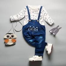 3 Color Red White Yellow Children Baby Girl set Jeans Jumpsuit High Quality Denim Overalls Infant Clothing Baby Clothes 0-2Y SKB(China)