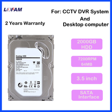 LOFAM Internal SATA HDD 3.5'' Inch 2000GB 2TB Hard Disk Drive For CCTV Camera AHD DVR NVR video System and PC desktop Computers