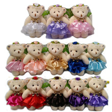 Cute plush toys bow flower bouquets material accessory teddy doll bears kid children bears wedding gift toys 50pcs/lot