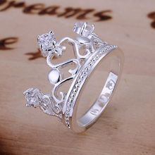 925 jewelry silver plated Ring Fine Fashion Zircon Crown Ring Women&Men Gift Silver Jewelry Finger Rings SMTR034(China)