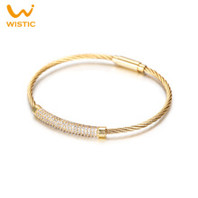 Wistic Wire Bracelet Stainless Steel Cubic Zircoina Crystal Twist Bangle Bracelet with Magnetic Clasp Gift for Men and Women