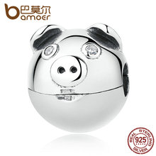 BAMOER 100% 925 Sterling Silver Lovely Animal Pig with Ears & Nose Clips Charms fit Bracelets Women Fashion Jewelry SCC106(China)