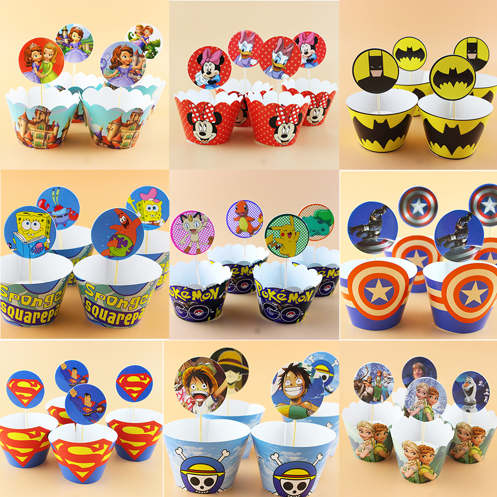 Thanksgiving cupcake decorations - 12sets Sofia Pokemon Cartoon Paper Cupcake Wrappers Cake Toppers Picks Kids Birthday Decoration Baby Shower Party Supplies