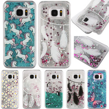 Case For Samsung Galaxy S7 S7edge Dynamic Liquid Glitter Sand Quicksand Star Hand Paint Pattern Case Crystal Clear Phone Cover