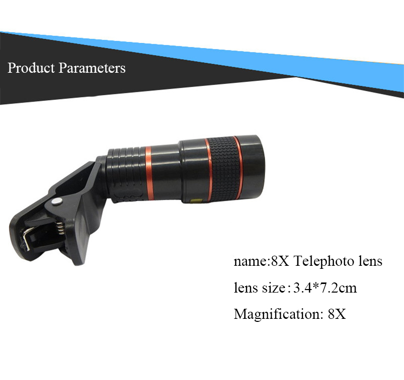 High-Definition Universal 8x telephoto telescopic camera lens For iPhone 6 6s Plus 5S SE 7 7Plus/Samsung Galaxy S6 S7 Edge Plus 3