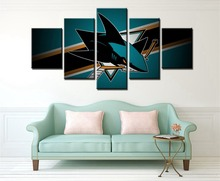 Ice Hockey Sports Team San Jose Sharks Logo Decor Poster Print Painting on Canvas Modern Wall Art Home Decorations Living Room