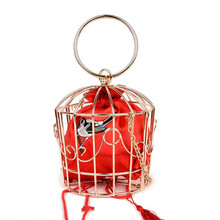 New Personality Birdcage Evening Bag Clutch Metal Frame Embroidery Bucket Bird Cage Mini Bag Tyrant Purse Gold tassel Handbag(China)