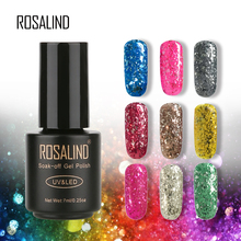 ROSALIND Meteor Fragment Glitter Gel Nail Polish 7ml Soak Off UV LED Primer Nail Art Gel Lacquer 2017 NEW 12 Colors(China)