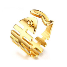 2017 New Fashion Women Gold Color Stainless Steel Fish Bones Hollow Rings Charm Cute Romantic Open Rings Female Party Jewelry