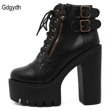 Gdgydh Hot Sale Russian Shoes Black Platform Martin Boots Women Zipper Spring High Heels Shoes Lace Up Ankle Boots Size 35-39