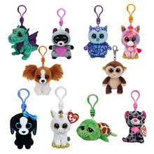 Ty Beanie Boos Plush Toys Beanie Babies Big Eyes Elephant Owl Avril Rabbit Reg Pink Twigs Sly Unicorn Animal Doll Keychain(China)