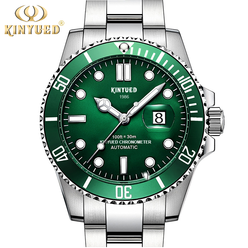 KINYUED Luxury Fashion Business Mens Mechanical Watches Stainless Steel Waterproof Calendar Classics Sport Automatic Men Watch<br>