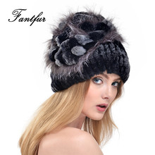 FANTFUR Women Knitted Genuine Rex Rabbit Fur Hat With Silver Fox Fur Flower Beanie Good Quality Elastic Real Fur Cap With Lining