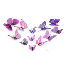 High Quality Gossip Girl Same Style 6 Big and 6 Small 3D Butterfly Wall Stickers Butterflies Decors For Home Fridage Decoration(China)
