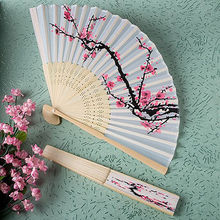 1 Pcs Chinese Bamboo Folding Fans Elegant Plum Blossom Flower Print White Polyester Fans Wedding Christmas Party Summer(China)
