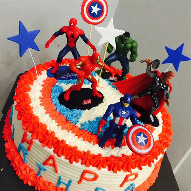 Detail Feedback Questions About Hot Toys Avengers Superhero Party Cake Topper Children Kids Gifts The Birthday Cupcake Toppers
