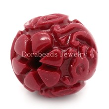 DoreenBeads Created Coral Spacer Beads Red Dragon Pattern Carved 13x12mm,Hole:Approx 2mm,10PCs (B24382), yiwu
