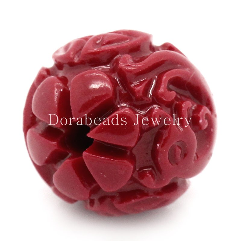 DoreenBeads Created Coral Spacer Beads Red Dragon Pattern Carved 13x12mm,Hole:Approx 2mm,10PCs (B24382), yiwu(China)