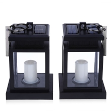 Traditional 2PCS Solar Powered LED Outdoor Candle Lantern Outdoor Hang Lamp Home Garden Decoration Light Warm White