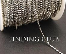 New factory price 10 Meters 2mm Rhodium Brass Faceted Ball Bead Chain Jewelry Necklace Findings in Bulk(China)