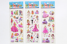 6 Sheets/set Cartoon anime Stickers for kids Home decor Pink Princess 3D sticker notebook decal fridge skateboard doodle toy