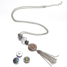 Silver Plated Working Card Lanyard Pendant Necklace 18mm Snap Button Jewelry Fits DIY Snap Jewelry For Employee ID Card Hanger