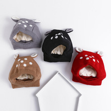 2018 Promotion Unisex Solid Fitted Cotton New Winter Hats Baby Siamese Children Bear Plus Velvet Cap Thick Warm Female Ear(China)
