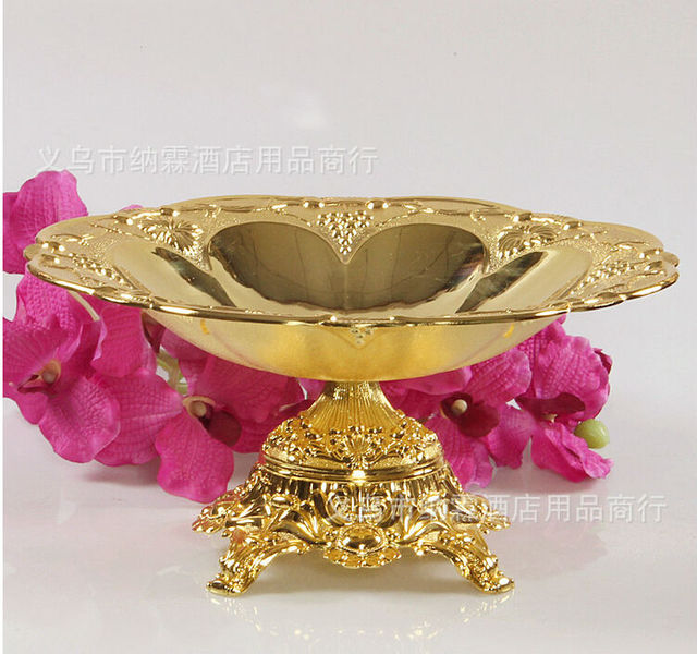 Diameter 24cm Gold Silver Plated Metal Fruit Bowl Decorative Trays
