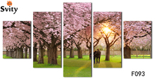 Unframed 5pcs/lot Canvas Painting Purple Loving Heart Trees Art Cheap Picture Home Decor On Canvas Modern Wall Prints Artworks