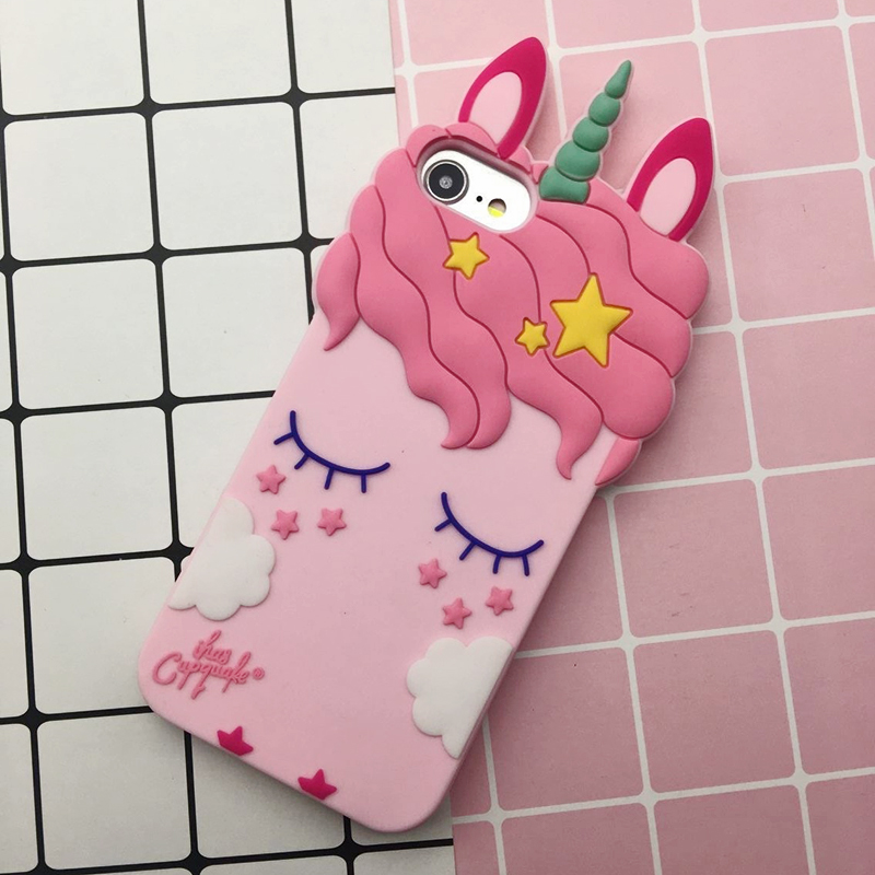 3D Cute Cat Unicorn Dog Rubber Case For iPhone 7 6 6S Plus 5s SE Soft Silicone Cartoon Cover Back For iPhone 8 7 6S 5S X Capa (26)