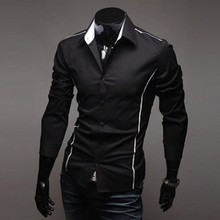 2017 Spring and autumn Korean Style Fashion Men Slim Long Sleeved Shirt Male Turndown Collar Tops(China)