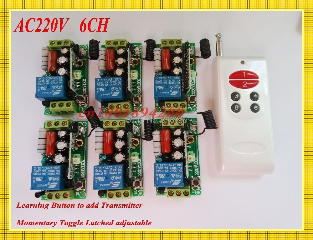 AC220V 6CH Remote Control Switch 6Receiver Transmitter Long Range Home Light Lamp LED Remote Controller Learn Code Remote Switch<br>