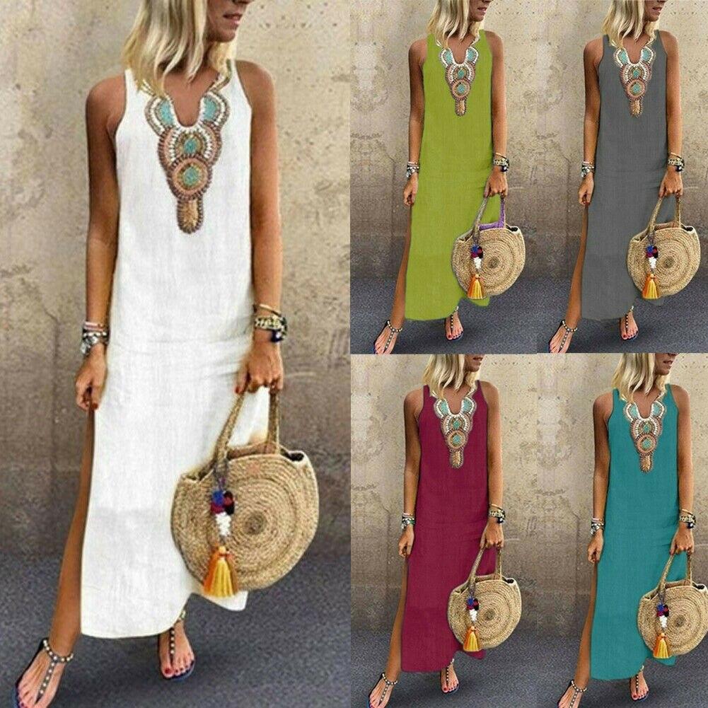 UK Boho Women Choker V Neck Long Tops Blouse Ladies Summer Mini Shirt Dress 6-20