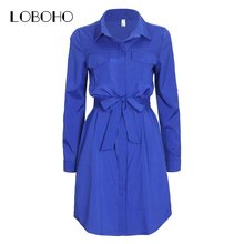 Women Shirt Dress Ladies Office Dresses 2017 Fashion Korean Style Women Dress Chiffon Pocket Bow Belt Autumn Clothes Casual Wear(China)