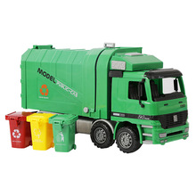 37Cm Diecast Model Buses Toy Big Size Inertia Garbage Truck for Children Can Be Lifted with 3 Rubbish Bin Educational Toy Car(China)