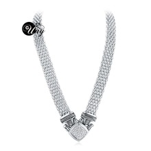 UNY designer Inspired Short Necklace 48cm magnetic claps Popcorn chain Pave Rhinestone Classic Elegant Vintage Antique Jewelry(China)