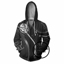 ALMOSUN Music DJ Black Disco 3D All Over Printed Zip-up Men Pockets Hoodies Hipster Fashion Casual Streetwear Jumper Men Women