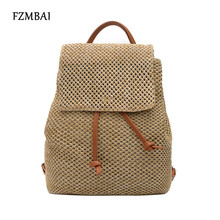 FZMBAI Women's Straw Woven Double Shoulder Bag Chic Girls Holiday Beach Backpacks(China)