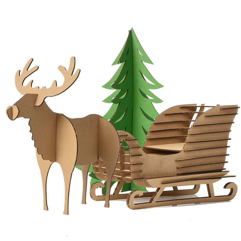 Cute Decoration Christmas Tree Reindeer Snow Sledge Toys Kids Craft DIY Cardboard 3D Puzzle Deer Sled Model Ornaments Xmas Gifts(China)