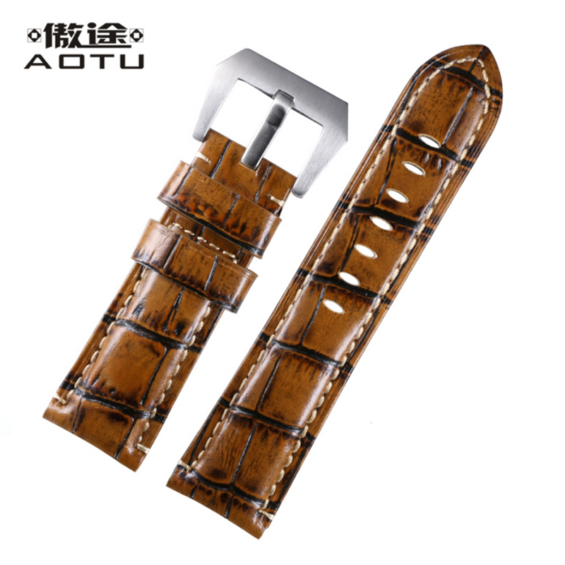 Genuine Leather Watchbands For PANERAI Men Watches 5 Colors Leather Watch Band Colorful Male Belt Buckle Watch Straps Clock Saat<br>
