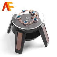 New Black/White Solar Power 360 Rotating Display Stand Turn Table Plate For Ring Necklace Bracelet Jewelry Jewelry Display