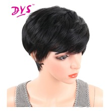 Deyngs Short Straight Synthetic Wigs Pixie Cut Natural Hair Wig With Bangs For Black Women Brown Black Cosplay For Halloween(China)