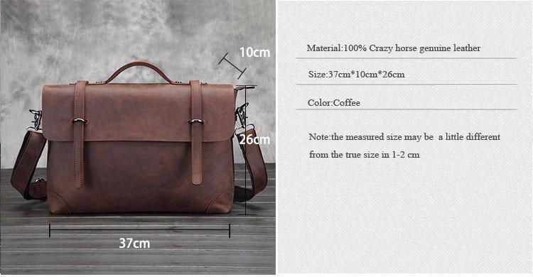 New Retro Crazy Horse Genuine Leather Men's Classic Briefcase Handbag Business Zipper Shoulder Laptop Messenger Handle Bags