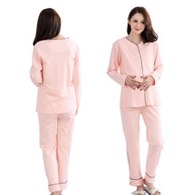 Materinty Cotton Nursing Pajamas Long Sleeve Solid Pajamas Set Maternity Tops+Pant Sleepwear Clothes for Pregnant Nursing(China)
